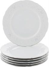 "Набор тарелок мелкая 25 см 6 штук; ""Bernadotte"", декор ""Деколь, отводка платина"""