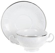 "Чашка 360 мл с блюдцем 180 мм для бульона; ""Bernadotte"", декор ""Деколь, отводка платина"""