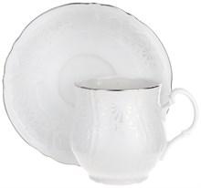 """Набор чашек 6 штук для чая 310 мл с блюдцем 160 мм; """"Bernadotte"""", декор """"Деколь, отводка платина"""""""