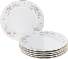 """Набор тарелок мелкая 25 см 6 штук; """"Bernadotte"""", декор """"Дикая роза, отводка золото"""""""