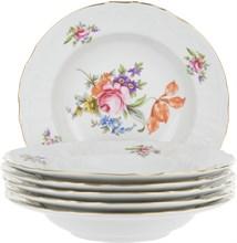 "Набор тарелок глубокая 23 см 6 штук; ""Bernadotte"", декор ""Мейсенский букет"""