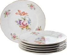 "Набор тарелок десертная 19 см 6 штук; ""Bernadotte"", декор ""Мейсенский букет"""