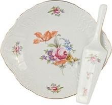 """Тарелка для торта с лопаткой 27 см; """"Bernadotte"""", декор """"Мейсенский букет"""""""