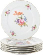 "Набор тарелок мелкая 21 см 6 штук; ""Bernadotte"", декор ""Мейсенский букет"""