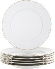 """Набор тарелок мелкая 25 см 6 штук; """"Bernadotte"""", декор """"Отводка золото"""""""