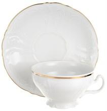 Набор чайных пар 205 мл Bernadotte Отводка золото (6 пар) низкая чашка