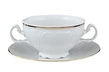 "Чашка 360 мл с блюдцем 180 мм для бульона; ""Bernadotte"", декор ""Отводка золото"","
