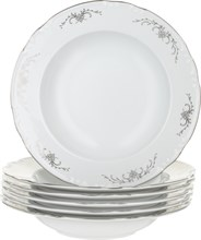 """Набор тарелок глубокая 23 см  6 штук; """"Constance"""", декор """"Серый орнамент, отводка платина"""""""
