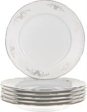 """Набор тарелок десертная 17 см 6 штук; """"Constance"""", декор """"Серый орнамент, отводка платина"""""""