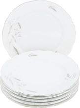 """Набор тарелок мелкая 21 см; 6 штук """"Constance"""", декор """"Серебряные колосья, отводка платина"""""""