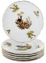"""Набор тарелок десертная 19 см 6 штук; """"Bernadotte"""", декор """"Охотничьи сюжеты"""""""