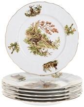 """Набор тарелок мелкая 25 см 6 штук; """"Bernadotte"""", декор """"Охотничьи сюжеты"""""""