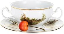 """Чашка 360 мл с блюдцем 180 мм для бульона; """"Bernadotte"""", декор """"Охотничьи сюжеты"""""""