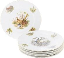 """Набор тарелок мелкая 27 см 6 штук; """"Bernadotte"""", декор """"Охотничьи сюжеты"""""""