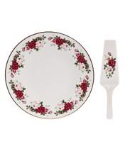 """Тарелка для торта 27 см с лопаткой;  """"Bernadotte"""", декор """"Английская роза, отводка золото"""""""