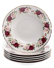 "Набор тарелок глубокая 23 см 6 шт; ""Bernadotte"", декор ""Английская роза, отводка золото"""