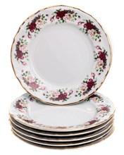 """Набор тарелок десертная 19 см 6 шт; """"Bernadotte"""", декор """"Английская роза, отводка золото"""""""