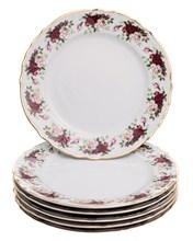 """Набор тарелок мелкая 21 см 6 шт; """"Bernadotte"""",  декор """"Английская роза, отводка золото"""""""