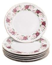 """Набор тарелок мелкая 25 см 6 шт; """"Bernadotte"""",  декор """"Английская роза, отводка золото"""""""