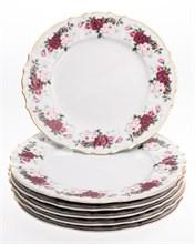 """Набор тарелок мелкая 27 см 6 шт; """"Bernadotte"""",  декор """"Английская роза, отводка золото"""""""