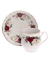 """Набор чашек 6 штук для чая 310 мл с блюдцем 160 мм; """"Bernadotte"""", декор """"Английская роза, отводка золото"""""""