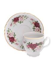 """Набор чашек 6 штук 240 мл с блюдцем 160 мм высокая; """"Bernadotte"""", декор """"Английская роза, отводка золото"""""""