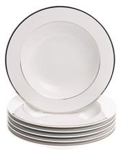 """Набор тарелок глубокая 22 см 6 шт; """"LOUISE"""", декор """"Отводка платина"""""""