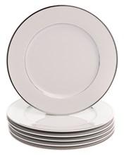 "Набор тарелок мелкая 25 см 6 шт; ""LOUISE"", декор ""Отводка платина"""