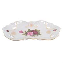 Блюдо овальное прорезаное Queen's Crown Роза перламутр 35 см
