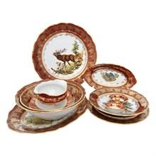 Столовый сервиз на 6 персон Queen's Crown Aristokrat Охота красная 25 предметов (без супника и масленки)