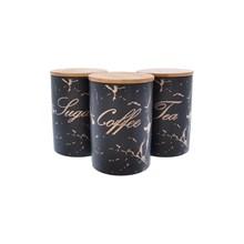 Набор ёмкостей для сыпучих продуктов из 3-х шт Royal Classics Чёрный мрамор 650 мл, 10*10*14.7 см