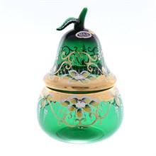 Конфетница с крышкой Star Crystal Лепка зеленая 20,5см